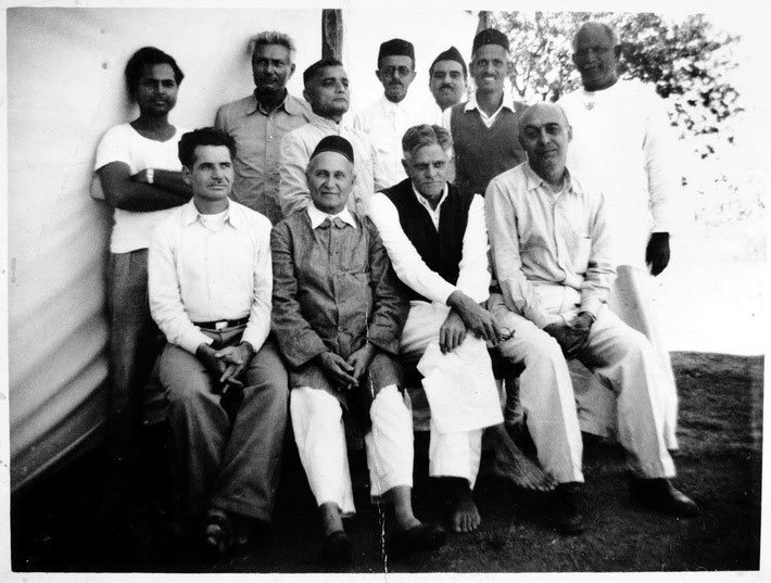 November 1955 at Meherabad. Seated- Aloba, Gustadji, Ramjoo, Pendu; standing-Bhau, Padri, Vishnu, Feram, Eruch, Bal Natu, Sidhu