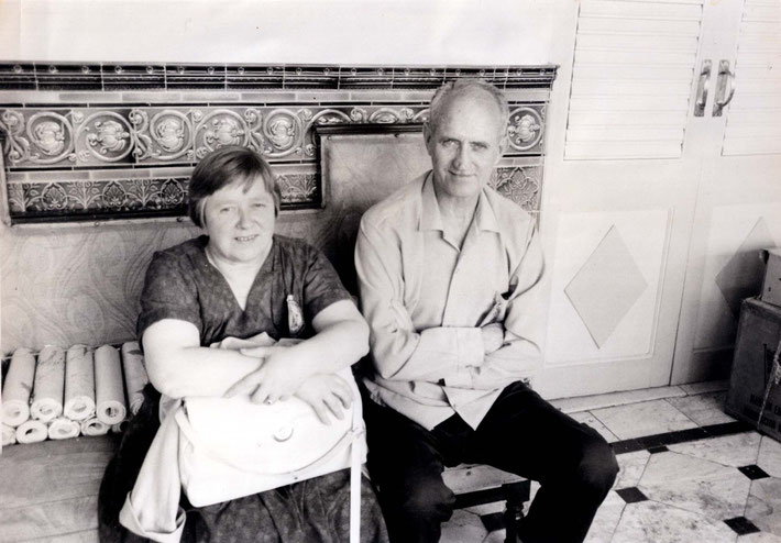 Guruprasad, Poon India. Clarice Adams seated with Dr. Denis O'Brien