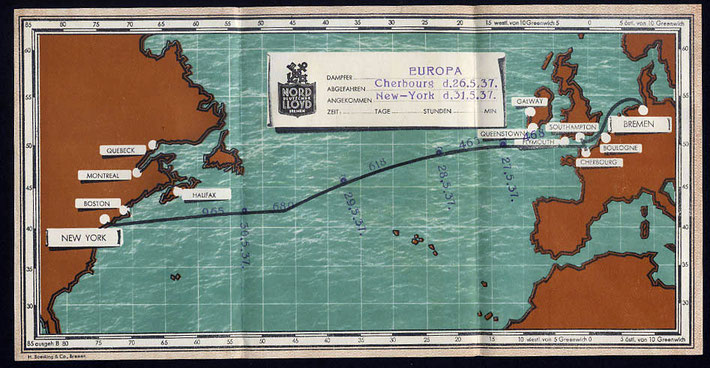 Map showing the voyage of the sister ship of the SS Bremen, the SS Europa across the Atlantic Ocean.