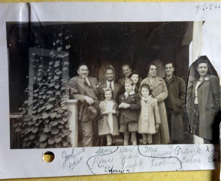 1941 : Photo shows ( L-R standing back row ) John Bass, Sam Cohen, Darwin Shaw, Jeanne Shaw, Mrs, Hervey, Frank Eaton & Kay Eaton ( inserted ), ( front row ) Renee, Lowell & Leatrice Shaw. Photo courtesy of Glenn & Laurel Magrini.
