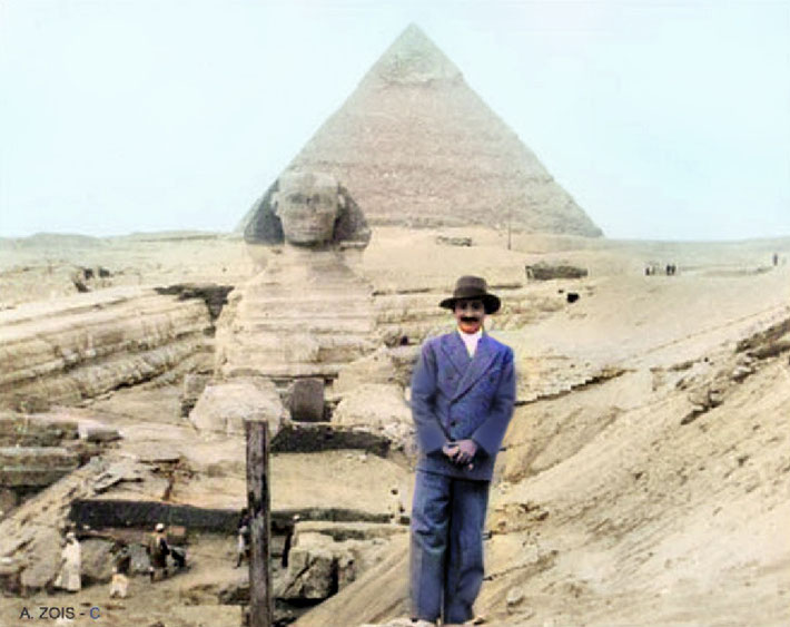 Jan. 1933 : Meher Baba in front of the Sphinx & Pyramid at Giza, Egypt. Image colourized by Anthony Zois.