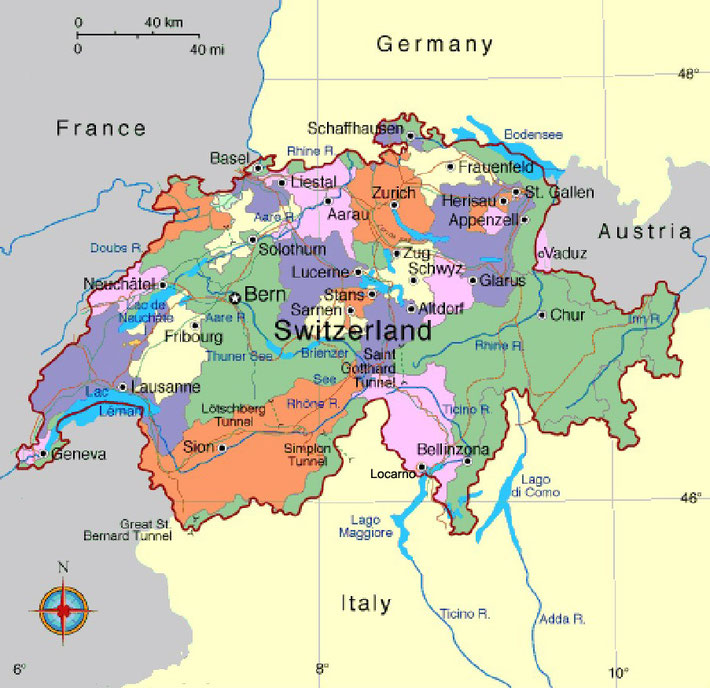 Map of Switzerland showing the Cantons.