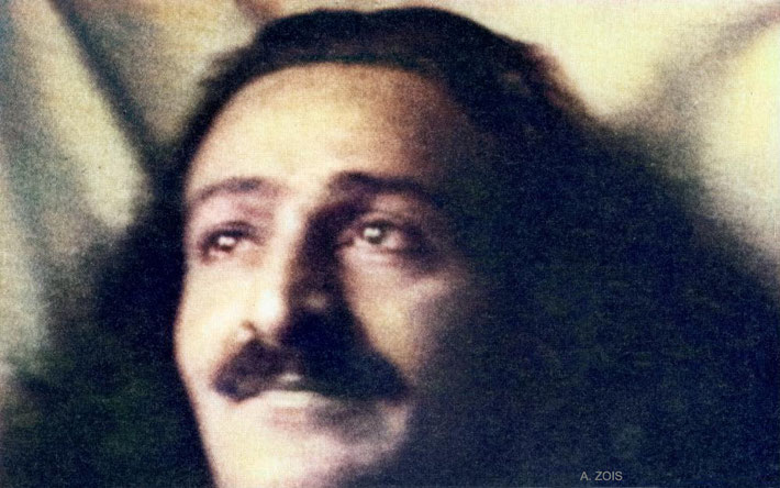 1934 : Meher Baba in Zurich, just prior to his visit to Geneva. Image colourized by Anthony Zois.