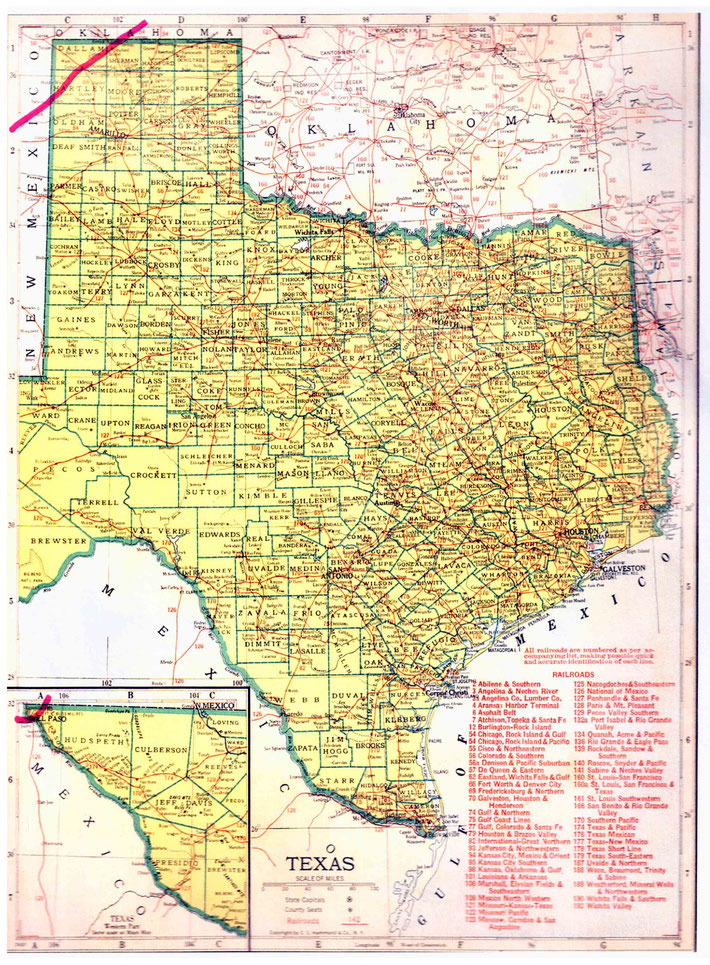TEXAS STATE MAP. This map shows the journey Meher Baba took across the state of Texas. This map apart from the rivers and county lines only shows rail-lines not roads.