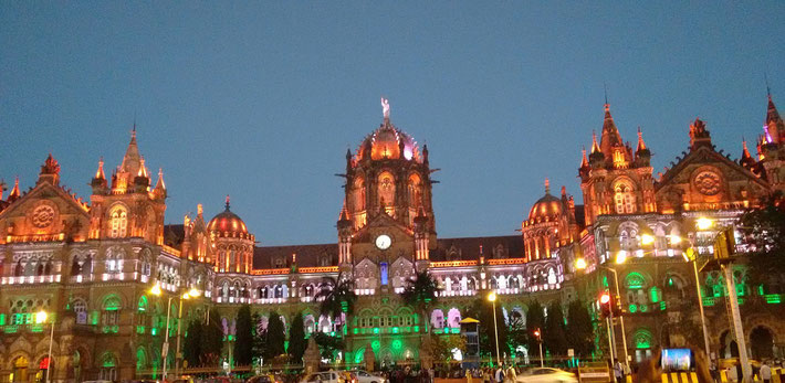 Victoria Terminus, Bombay ( now known as ; Chhatrapati Shivaji Maharaj Terminus, Mumbai )