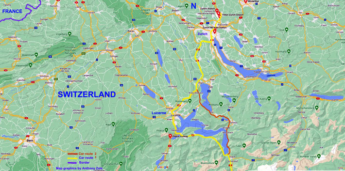Map 2 : Central Switzerland with the route shown to the South of the country. Map graphics by Anthony Zois.