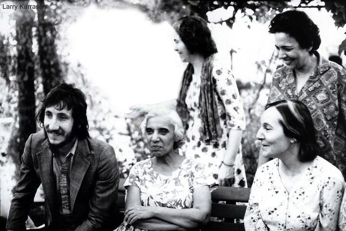 1973-4 - Meherazad, India : ( L-R seated ) Peter, Dr. Goher, Mehera Irani, ( standing ) Mani Irani & Arnavaz Dadachanji. Photo taken by Larry Karrasch & permission.