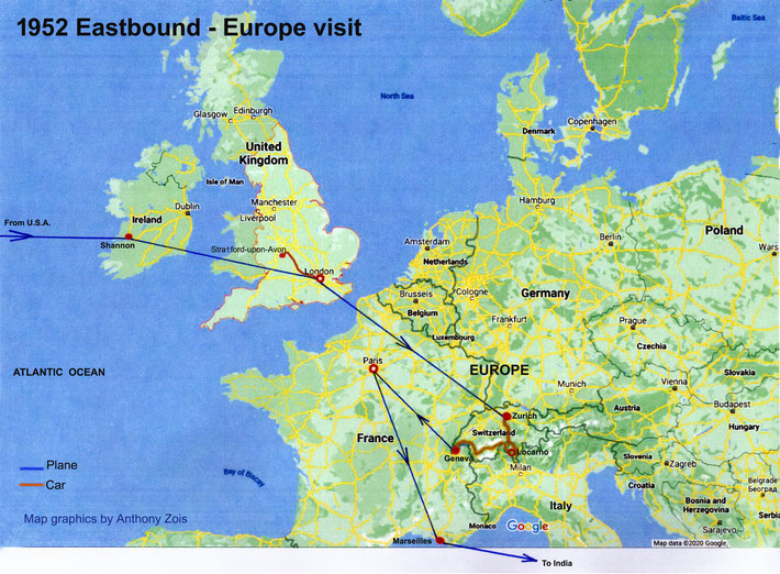 1952 : Eastbound route to India via England & Europe. Map graphics by Anthony Zois