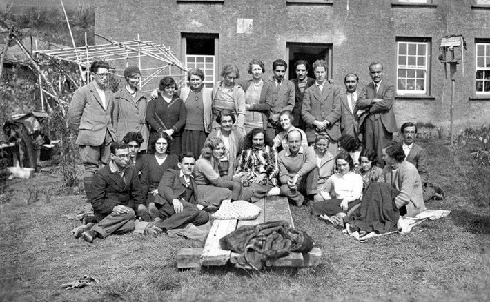 1932 : East Challacombe, Devon, England. Ann is sitting down on the far left next to Adi S. Irani. Photo taken by R.L. Knight. Courtesy of MN Publ.