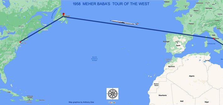 1958 : Map shows the 2nd leg of Meher Baba's journey from Rome to New York by TWA plane. Map graphics by Anthony Zois.