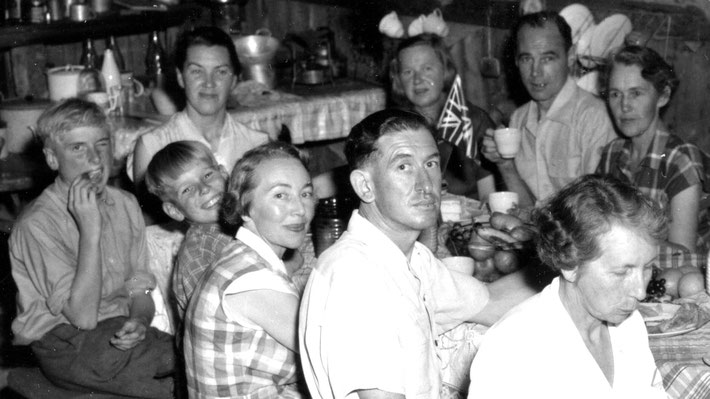 Mid-1950s - Top-( L-R ) May Lundquist, Cynthia Adams, Reg holding a drink, Gladys, unknowns, & Clarice's boys - Noel & Colin, during the construction at Meher House at Beacon Hill - close up