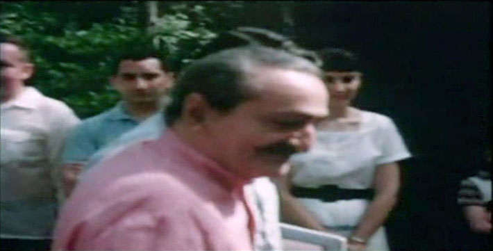 1958 : Henry & Kecha either side of Baba during his visit to the Meher Center. Image captured from a film by Anthony Zois.