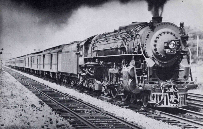 Typical steam loco of the 20th Century Line pulling Pullman carriages away from Harmon.