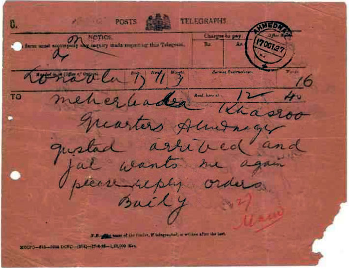 17th January 1927 - Lonavla, India . Baily sent this telegraph to Meher Baba in Ahmednagar asking for intructions.