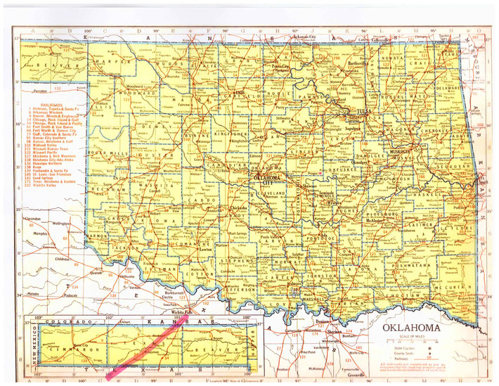 OKLAHOMA STATE MAP. This map shows the journey Meher Baba took across the state of Oklahoma. This map apart from the rivers and county lines only shows rail-lines not roads.