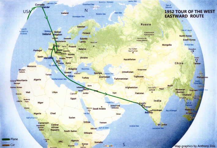 1952  Map shows Meher Baba's Eastbound route back to India from the West - 2nd part