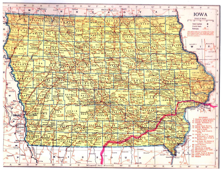 IOWA STATE MAP : This map shows the journey Meher Baba took across the state of Iowa. This map apart from the rivers and county lines only shows rail-lines not roads.