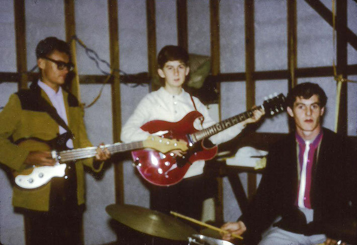 1960s - George playing the red guitar in his band in Brisbane.