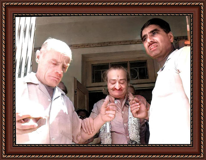 33. Colourization by Nagendra Gandhi. Baba visiting a home in Poona, India assisted by Francis Brabazon & Eruch Jessawala.