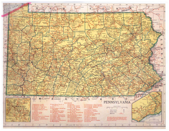 PENNSYLVANIA STATE : This map shows the journey Meher Baba took across the state of Pennsylvania. This map apart from the rivers and county lines only shows rail-lines not roads.