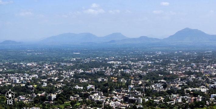 Aerial view of Satara, India