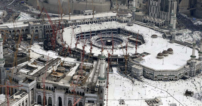 September 2015 ; Dramatic new-look Grand Mosque around the Kaaba. Multi platforms aound the Kaaba so worshippers can walk around it. One of the cranes collapsed during a storm causing death and damage.