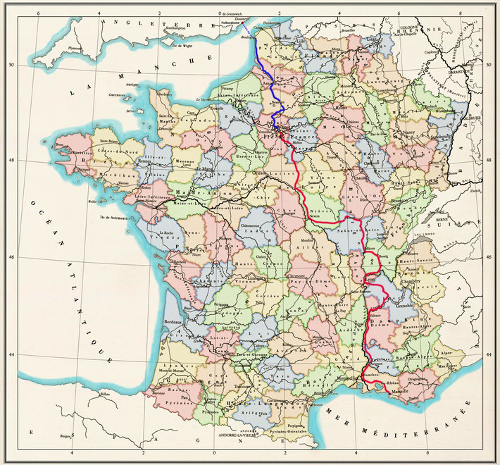1931 : The above map shows the train journey from Marseilles to Paris in 'red' & the train journey to Boulonge in 'blue'.  The ferry crossing is shown as 'blue dots'. Map graphics by Anthony Zois.