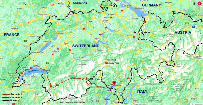 Map of Swtzerland showing the overall routes from Locarno to Geneva. Map graphics by Anthony Zois.