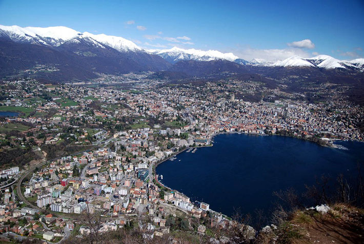 Lugano & the Swiss Alps in the background.