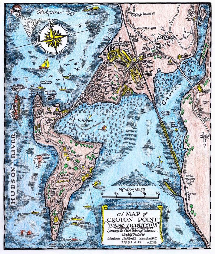 HAND-DRAWN MAP OF HARMON & CROTON POINT, NY.  Colourized by Anthony Zois
