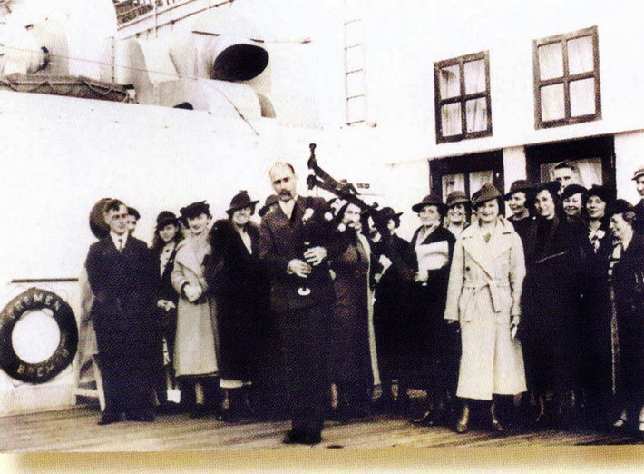 13th May, 1932 - Southampton,England. A crowded gathered to see Meher Baba off on his voyage to New York. Charles Ross is in the front playing the bagpipes. Photo courtesy of Anne Ross. Image edited by Anthony Zois