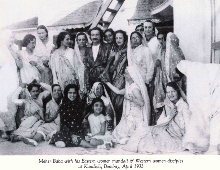 7 April 1933 : Meher Baba with all the Eastern & Western women dressed in saris in Kandivali, Vivienne standing  3rd from the left. Bombay. Image courtesy of Lord Meher  p.1763