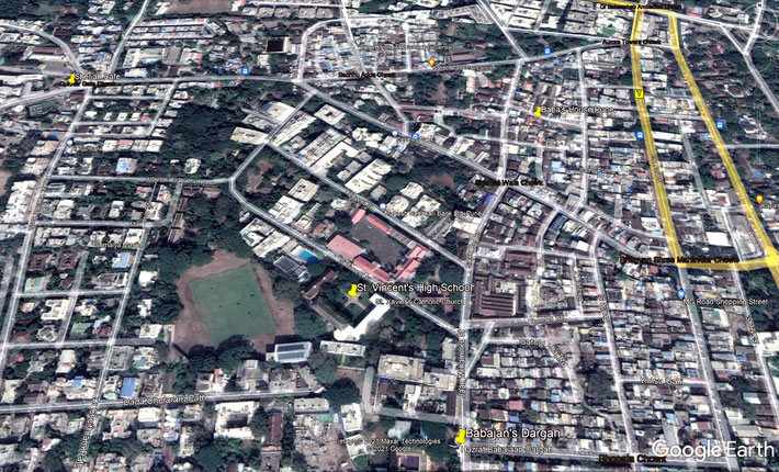 Present-day aerial map of Pune showing important places for Meher Baba marked by yellow markers. Map grahics by Anthony Zois.