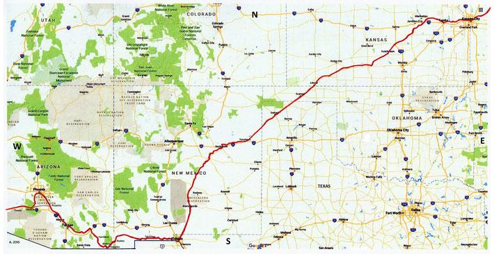 Kansas City, Missouri  to Phoenix, Arizona. Train route marked by Anthony Zois