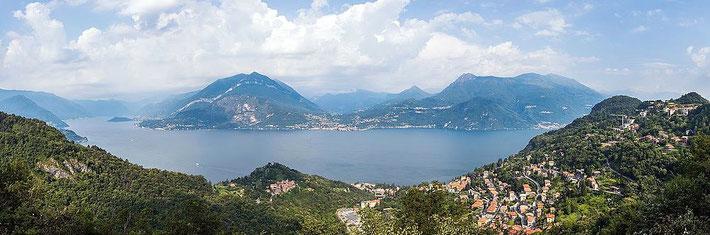 Panoramic view of Lake Como, Switzerland & Italy.