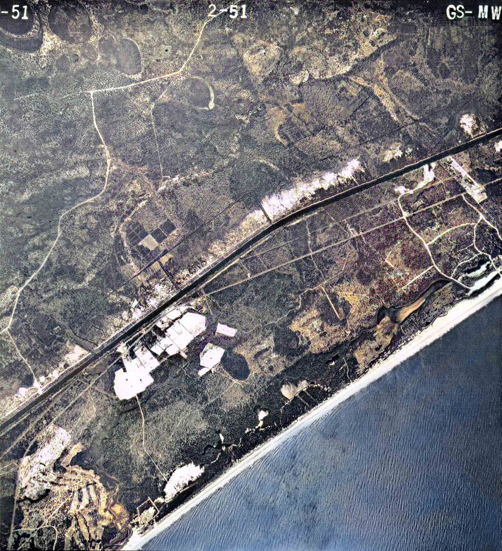 Myrtle Beach 1951 aerial colorized map.