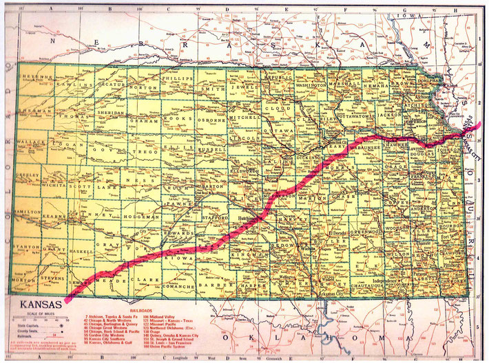 KANSAS STATE MAP : This map shows the journey Meher Baba took across the state of Kansas. This map apart from the rivers and county lines only shows rail-lines not roads.