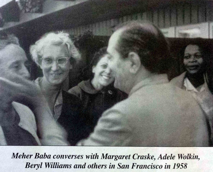 USA late 1950s ; Meher Baba caressing Margaret's cheek with Adele Wolkin & Beryl Williams ( far right ) . Courtesy of Glow Magazine.