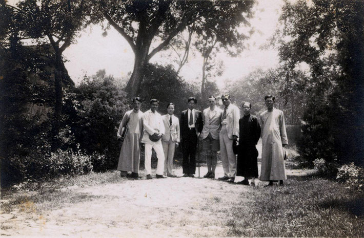 Herbert Davy in shorts, centre with Rustom Irani on the right and Jal second from left presumably in Nanking, China in 1932. Courtesy of the Jessawala Collection - AMB Archives, Meherabad, India.