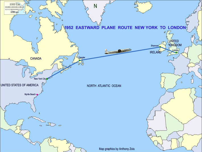Map showing the return route by plane from New York City to London, heading back to India.