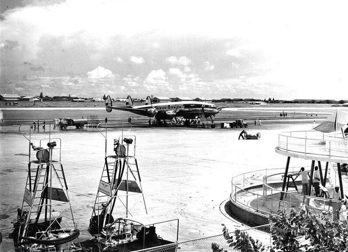 KLM Royal Dutch Airlines Lockheed Constellation, Kemayoran Airport, Jakarta, Indonesia mid 1950s.