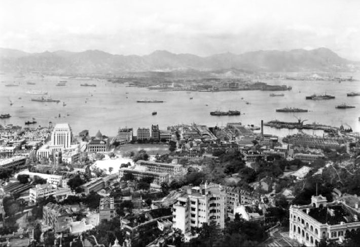 1930s ; Hong Kong with the Kowloon Peninsula in the distance