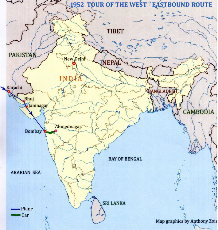 MAP 11 : 1952 - The last flight route of Meher Baba's  visit to the West. Map graphics by Anthony Zois.