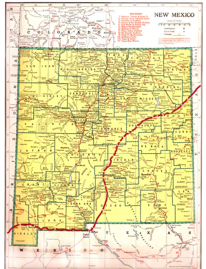 NEW MEXICO STATE MAP. This map shows the journey Meher Baba took across the state of New Mexico. This map apart from the rivers and county lines only shows rail-lines not roads. The train route in red was made by Anthony Zois.