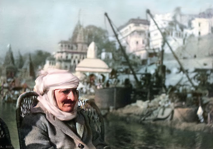 Meher Baba on a boat ride on the Ganges River at ( Benares ) Varanasi, India - 17th Jan. 1939. Image colourized &  enhanced by Anthony Zois.