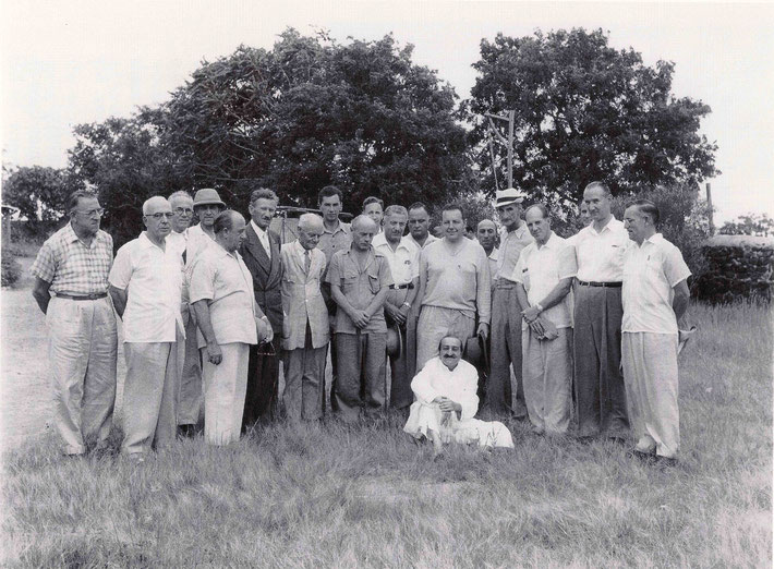 24th September 1954, Meherabad Hill, India : Malcolm is 4th from the left wearing a hat. LM p. 4500