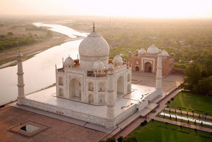 """River view of the Taj with the buiding on the right - """"The Answer """""""
