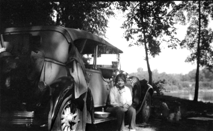 Elizabeth with her 1929 Stutz Model M Four door-Passenger Speedster by LeBaron touring in the USA.