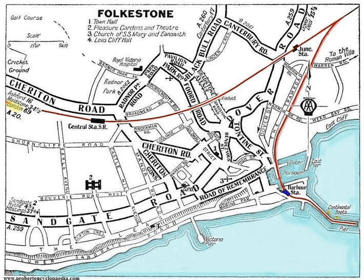 Map of the Port of Folkestone. The photo below of Gandhi walking would have been taken along the R/H side near the Harbour Station. This is where Meher Baba took the train to Victoria Station in London.