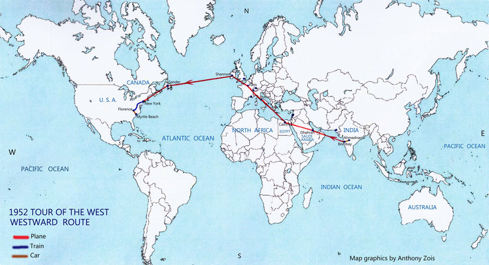 Map 3 : 1952 Meher Baba's Tour of the West - Westward route. Map graphics by Anthony Zois.